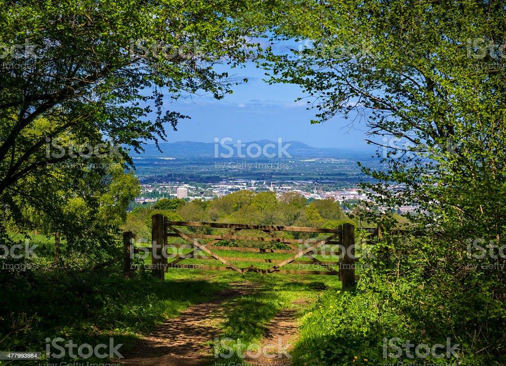 Cotswold way vista across green fields stock photo