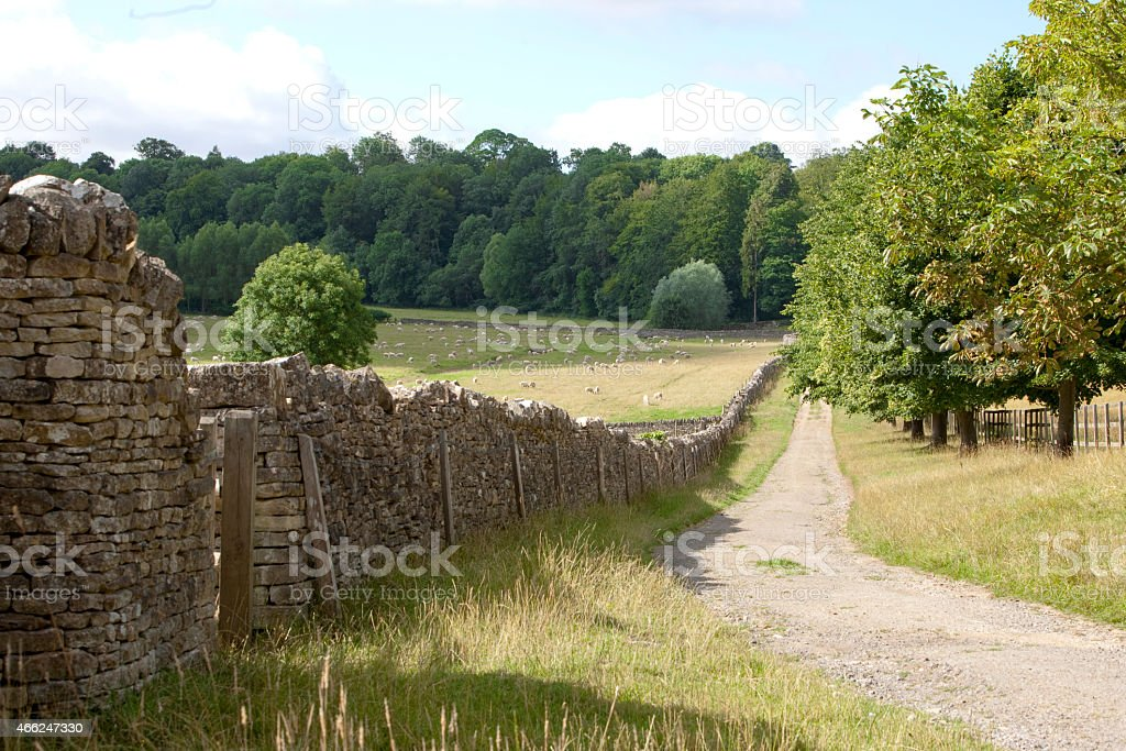 Cotswolds Bridleway/pathway leading into the distance stock photo