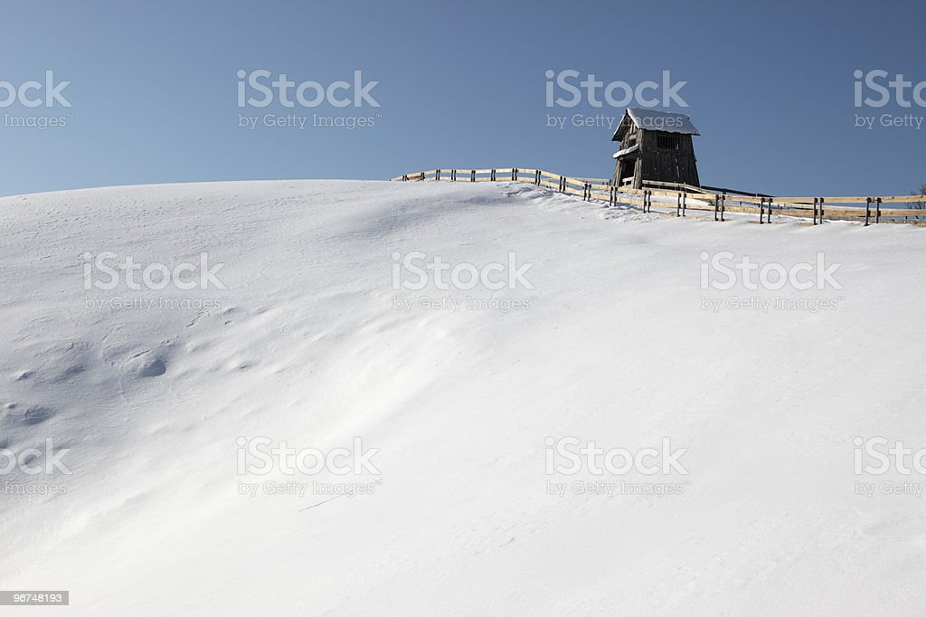 Cottage and snow in PyeongChang ,Korea stock photo