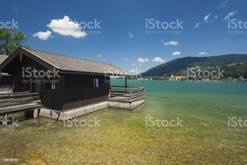 Cottage at Lake Tegernsee stock photo