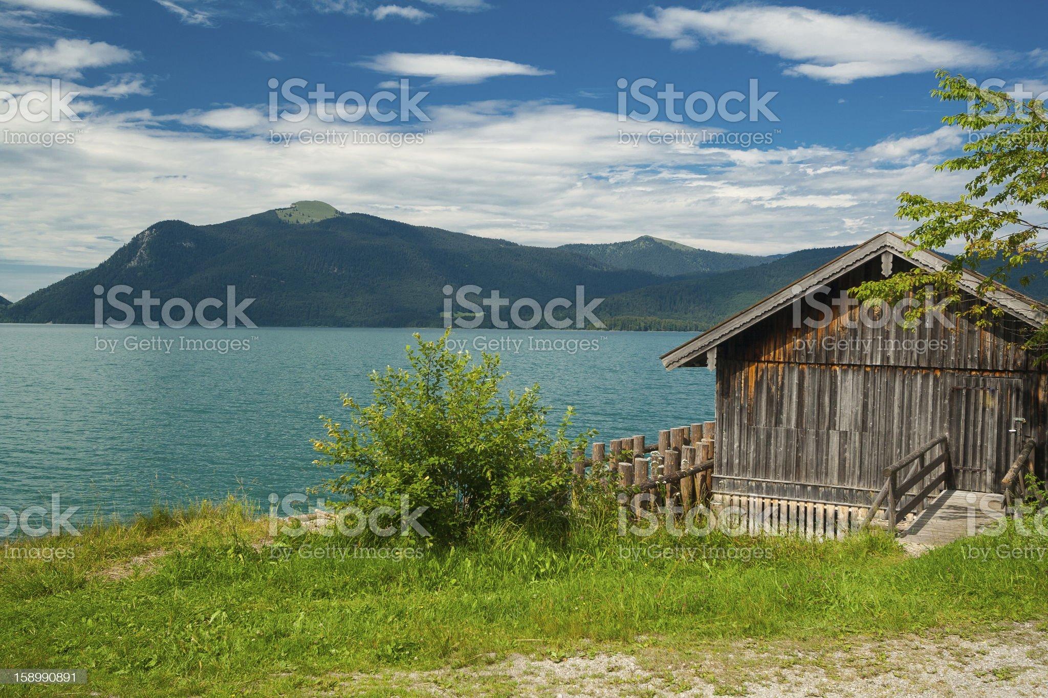 Cottage at Lake Walchensee royalty-free stock photo