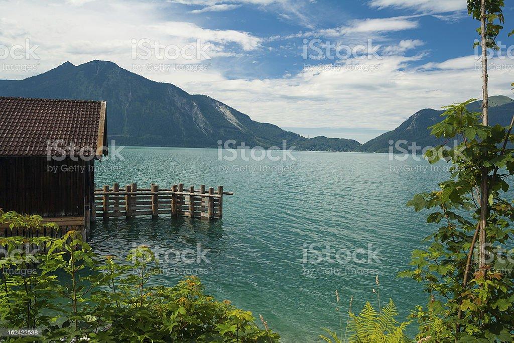Cottage at Lake Walchensee stock photo