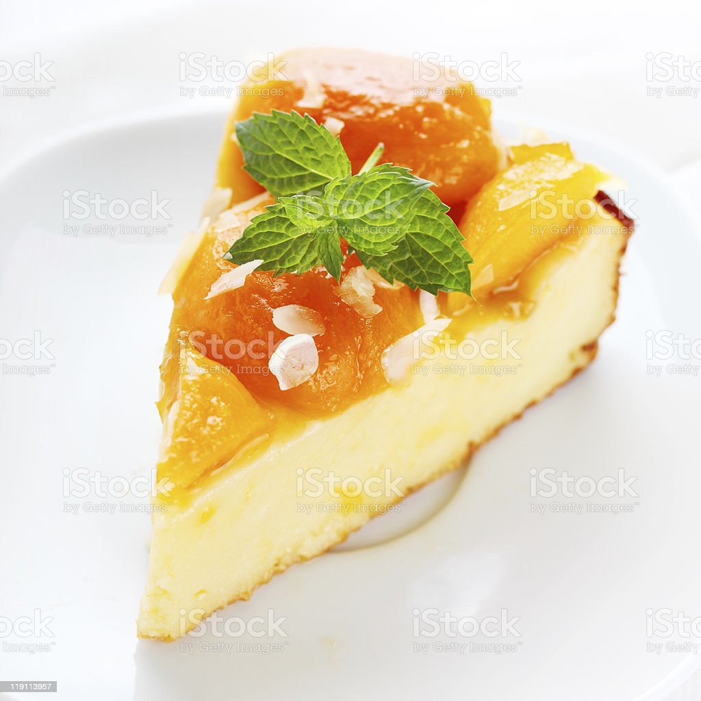 Cottage cheese and apricot tart stock photo