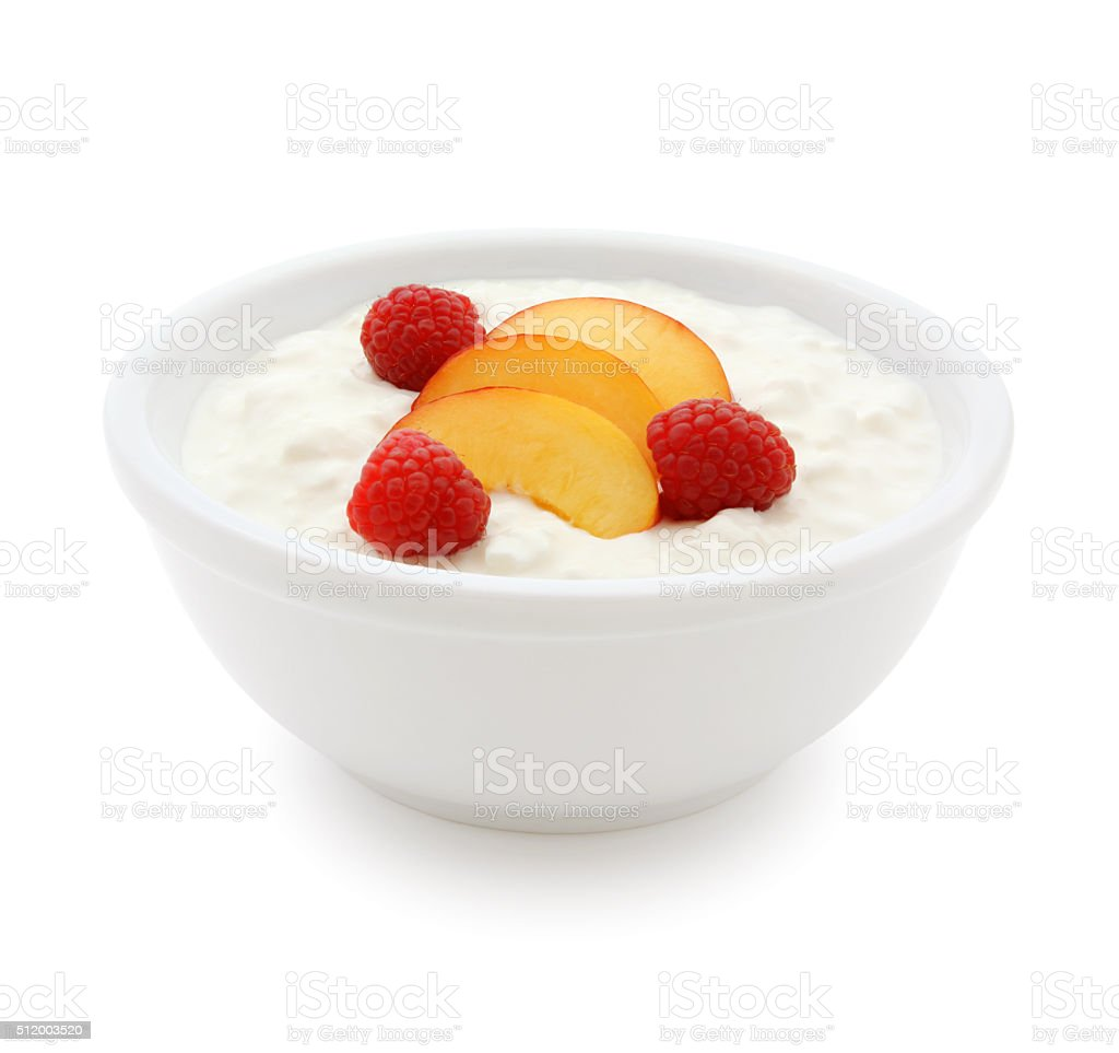 Cottage Cheese and Fruits (with path) stock photo