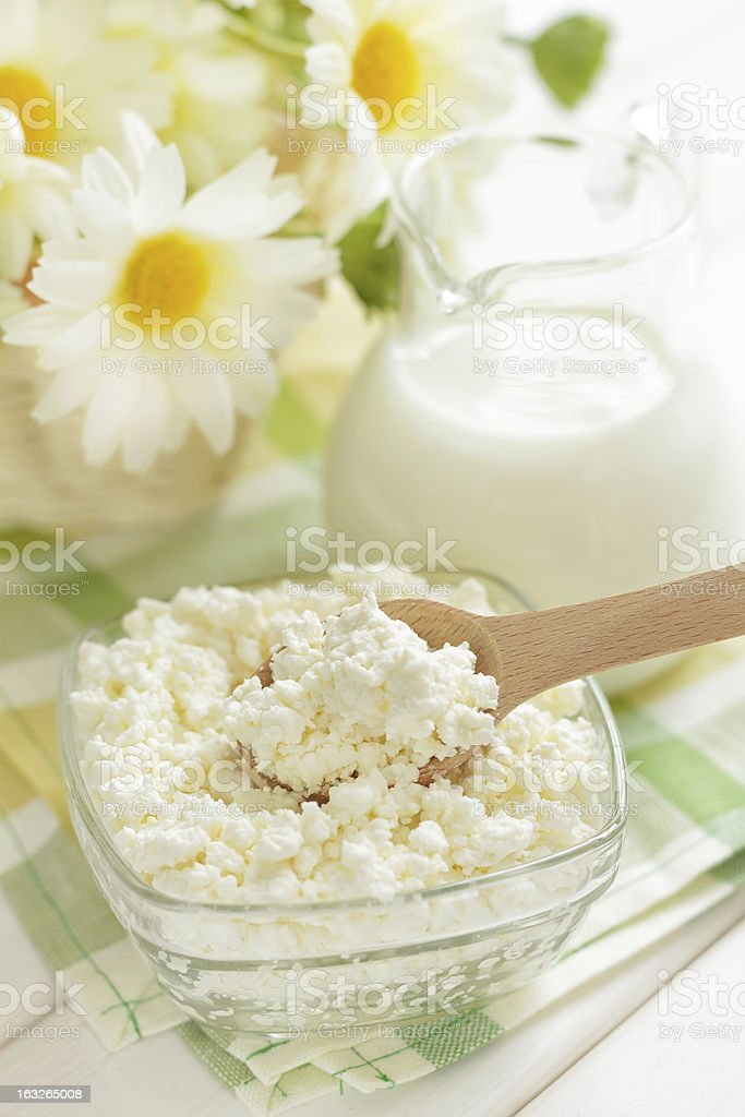 Cottage cheese and milk royalty-free stock photo