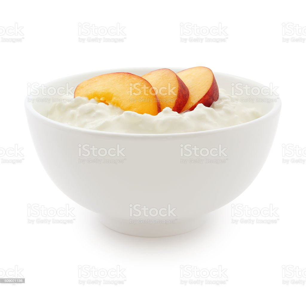 Cottage Cheese and Nectarines (with path) stock photo