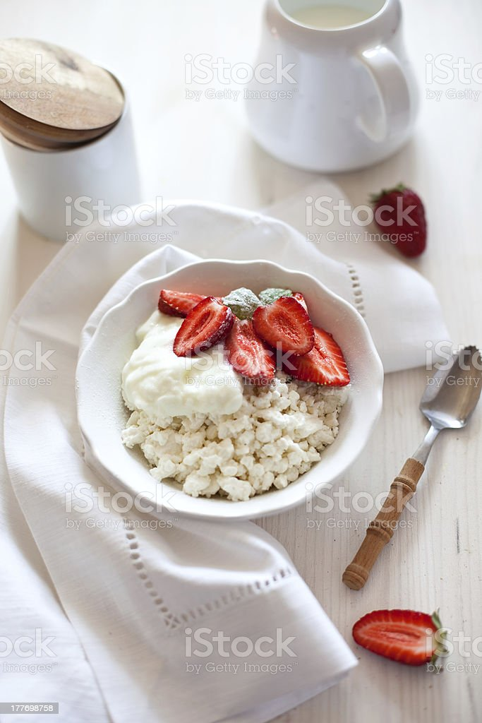 Cottage cheese and strawberries royalty-free stock photo