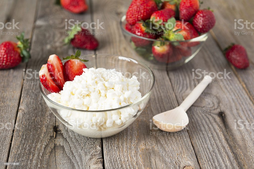 Cottage cheese and strawberry stock photo