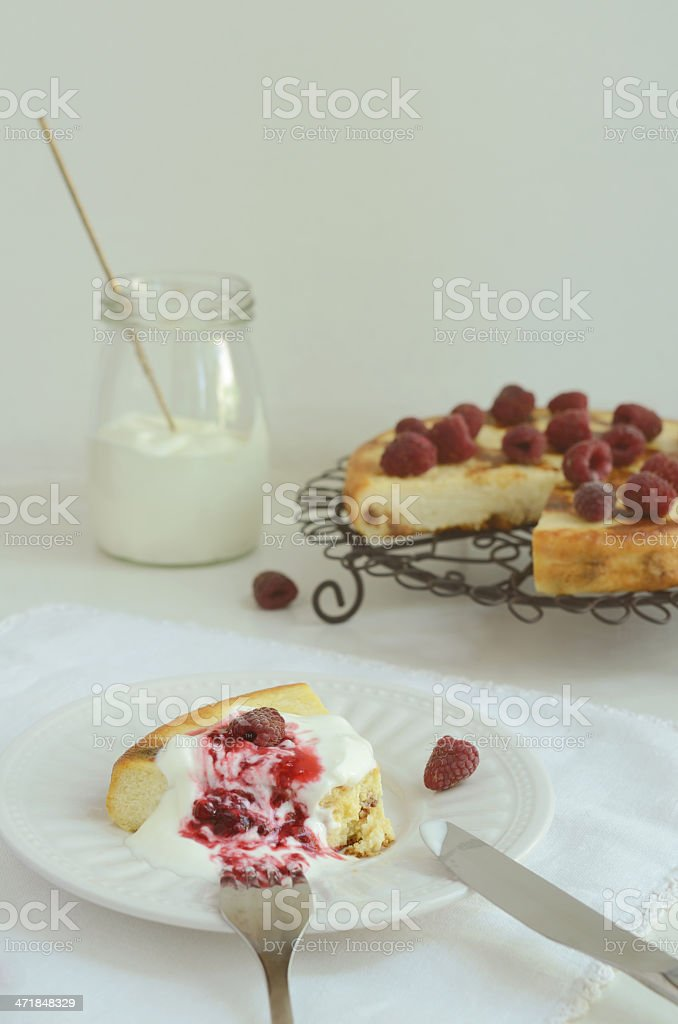 Cottage cheese baked pudding with raspberry topping royalty-free stock photo