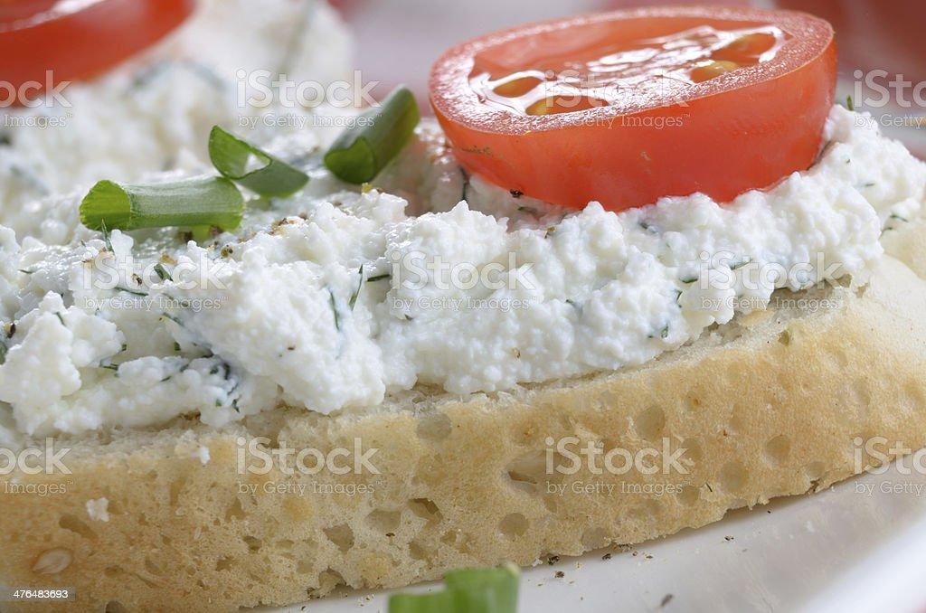 Cottage cheese bruschettas royalty-free stock photo