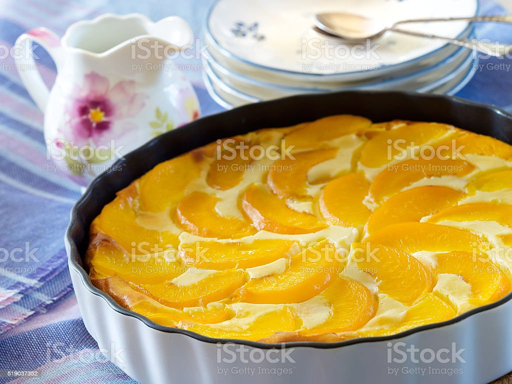 Cottage cheese cake with peaches royalty-free stock photo