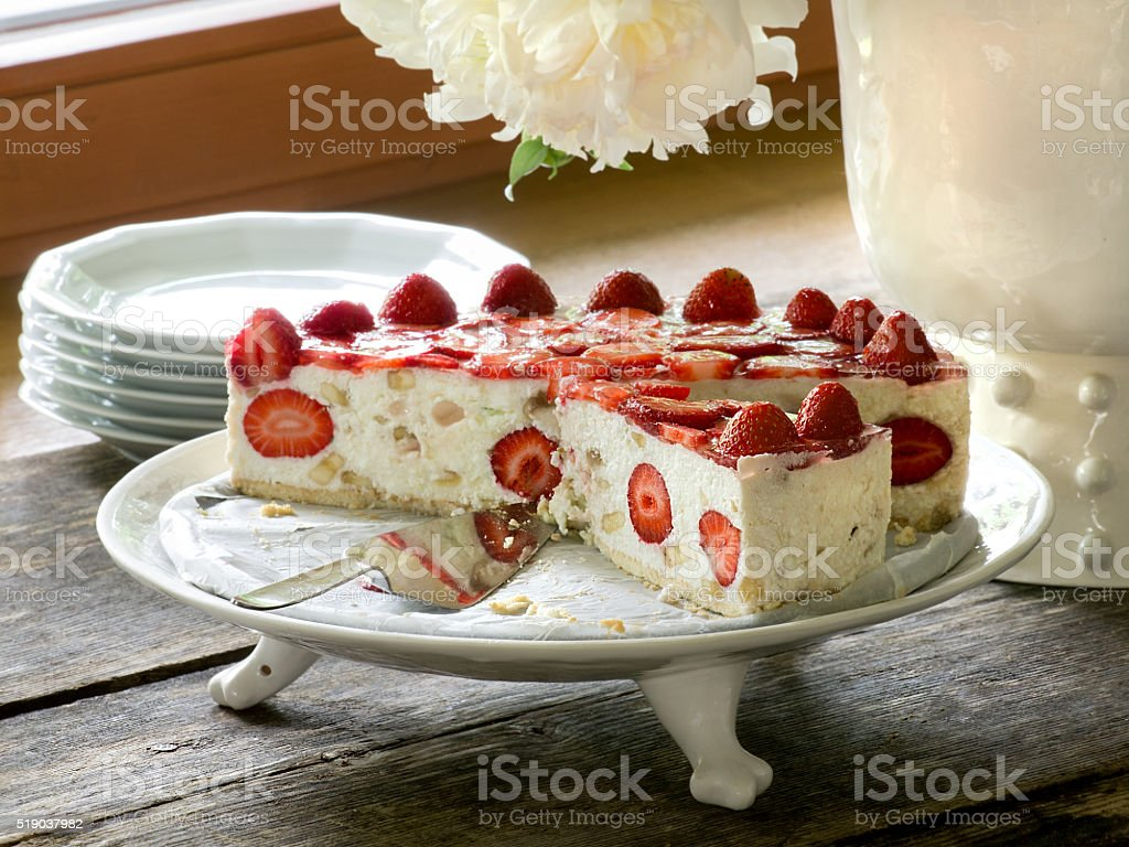 Cottage cheese cake with strawberry royalty-free stock photo