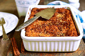 Cottage cheese casserole with cinnamon syrup.