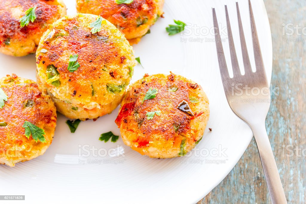 Cottage Cheese Cutlets/ Paneer Cutlets stock photo