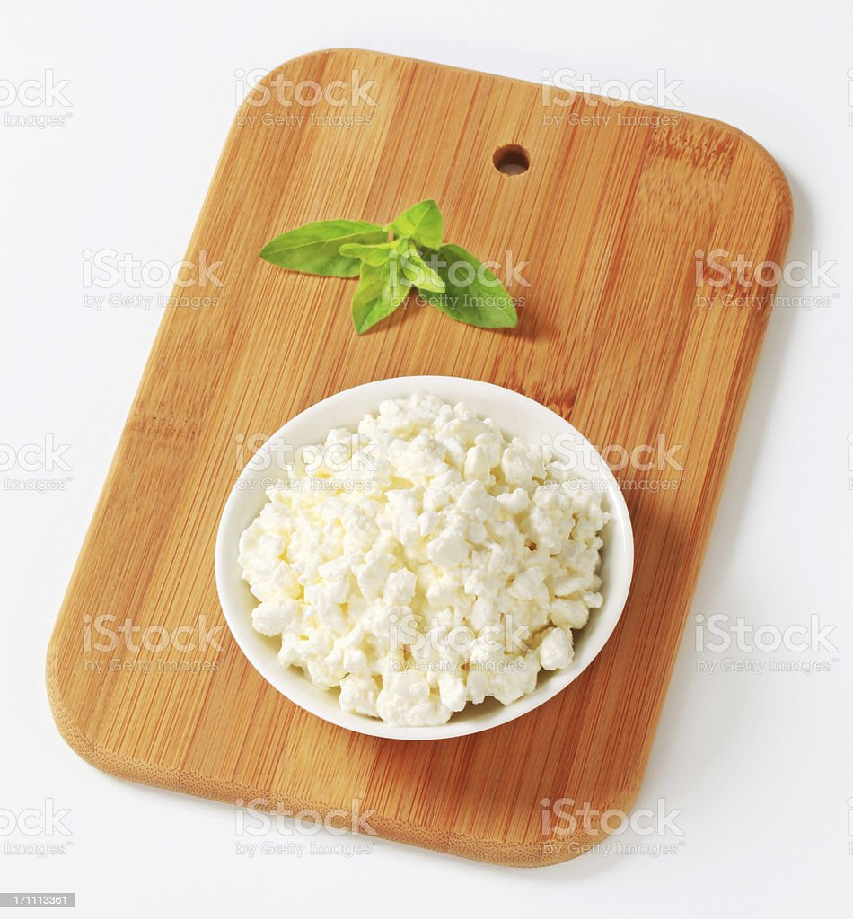 cottage cheese in a bowl stock photo