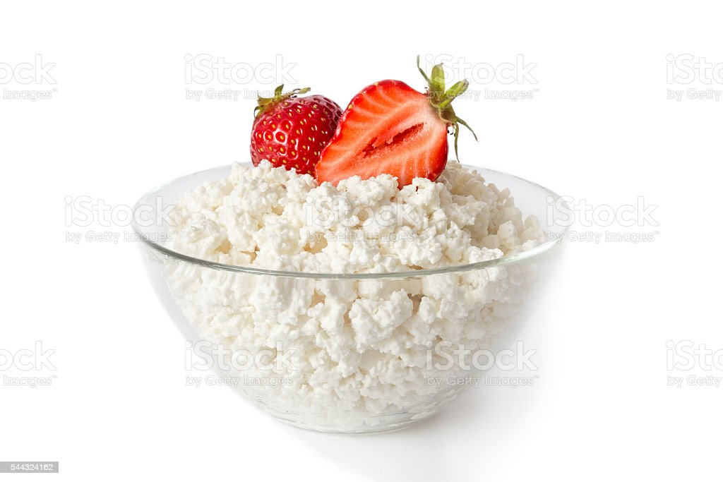 cottage cheese in a glass bowl stock photo