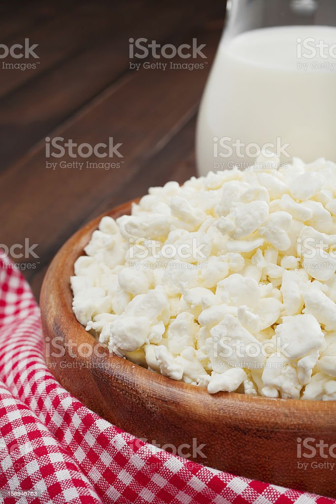 cottage cheese in rustic wooden plate royalty-free stock photo
