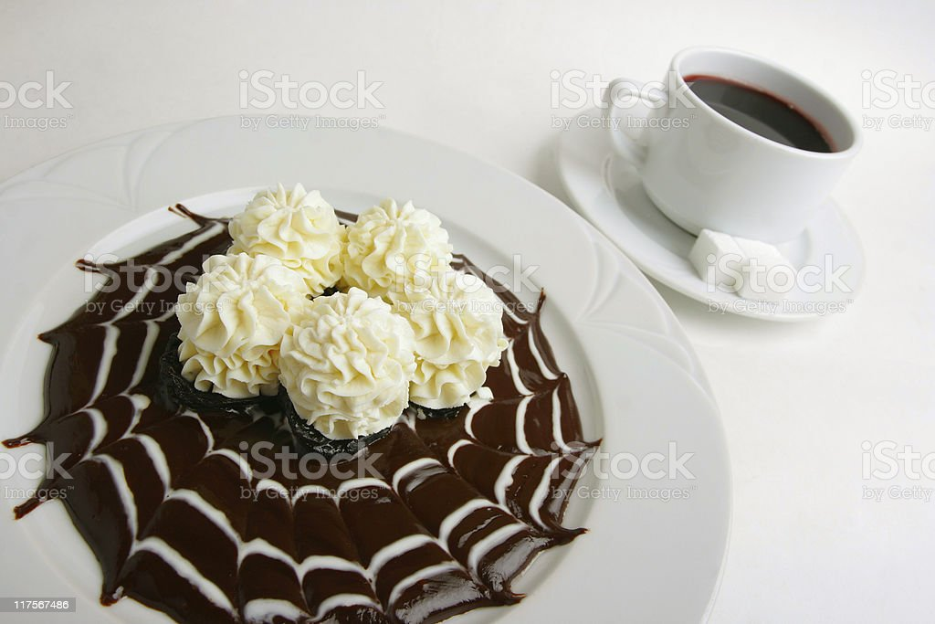 cottage cheese mousse with chocolate on plate stock photo