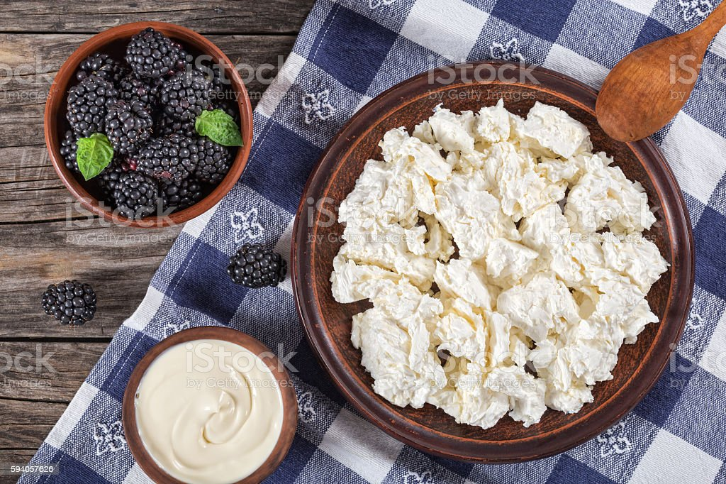 cottage cheese on clay plate, sour cream and dewberry stock photo