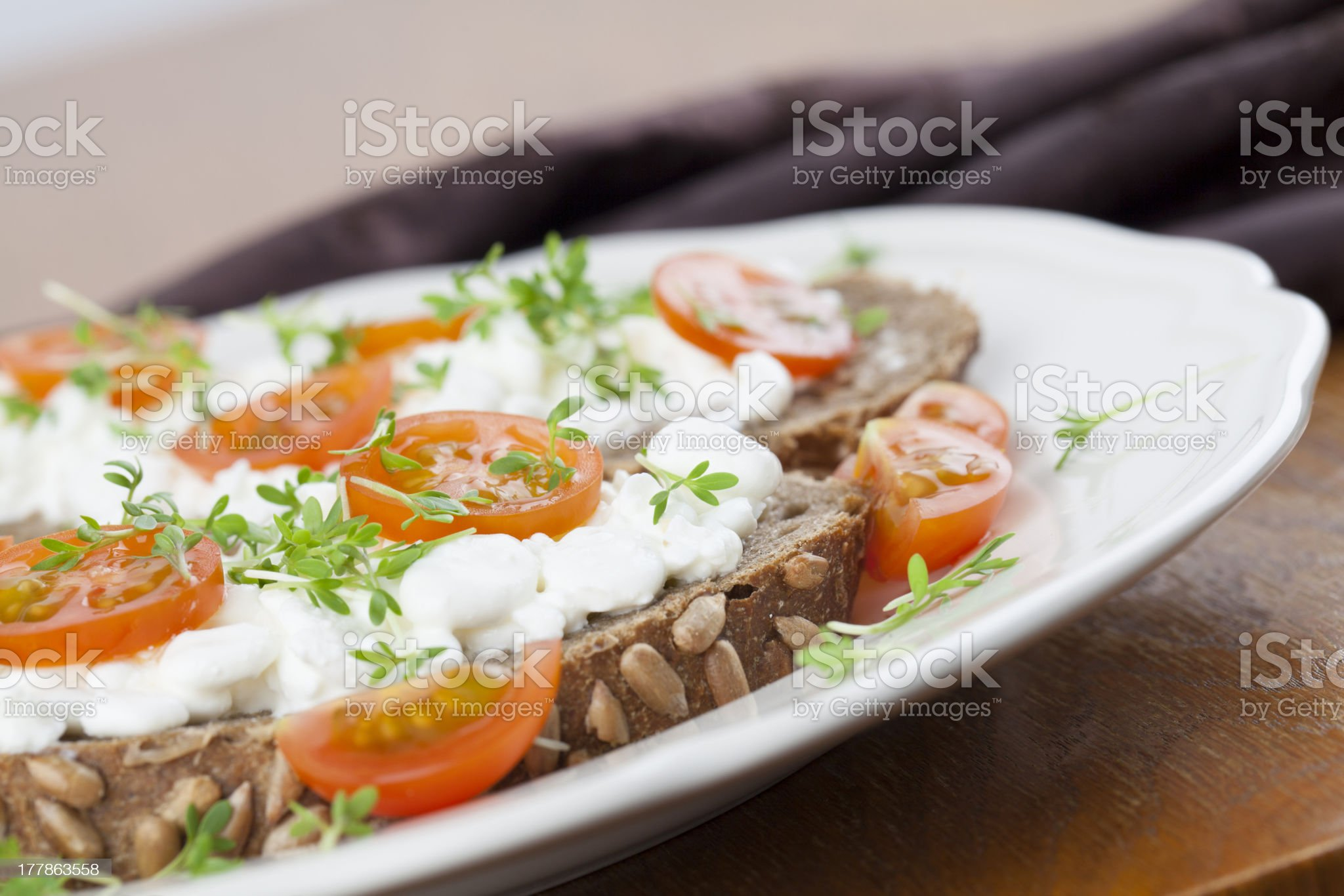 Cottage cheese sandwiches royalty-free stock photo