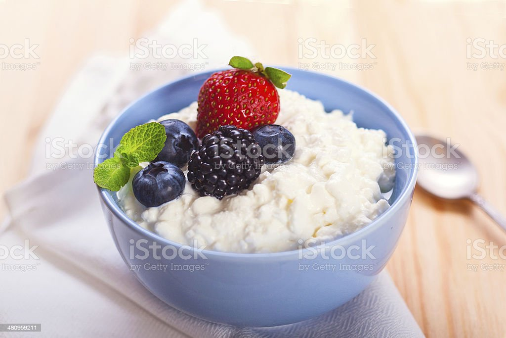 Cottage cheese with berries stock photo