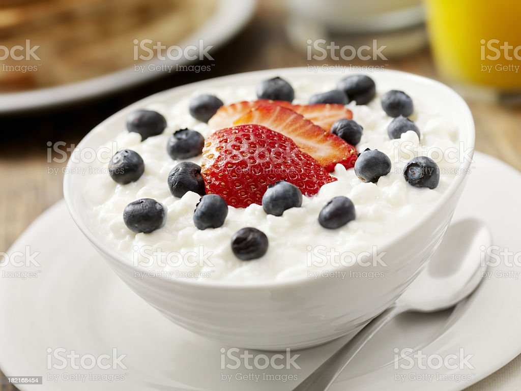 Cottage Cheese with Fresh Fruit stock photo
