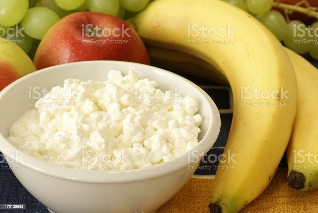 Cottage cheese with fruits stock photo