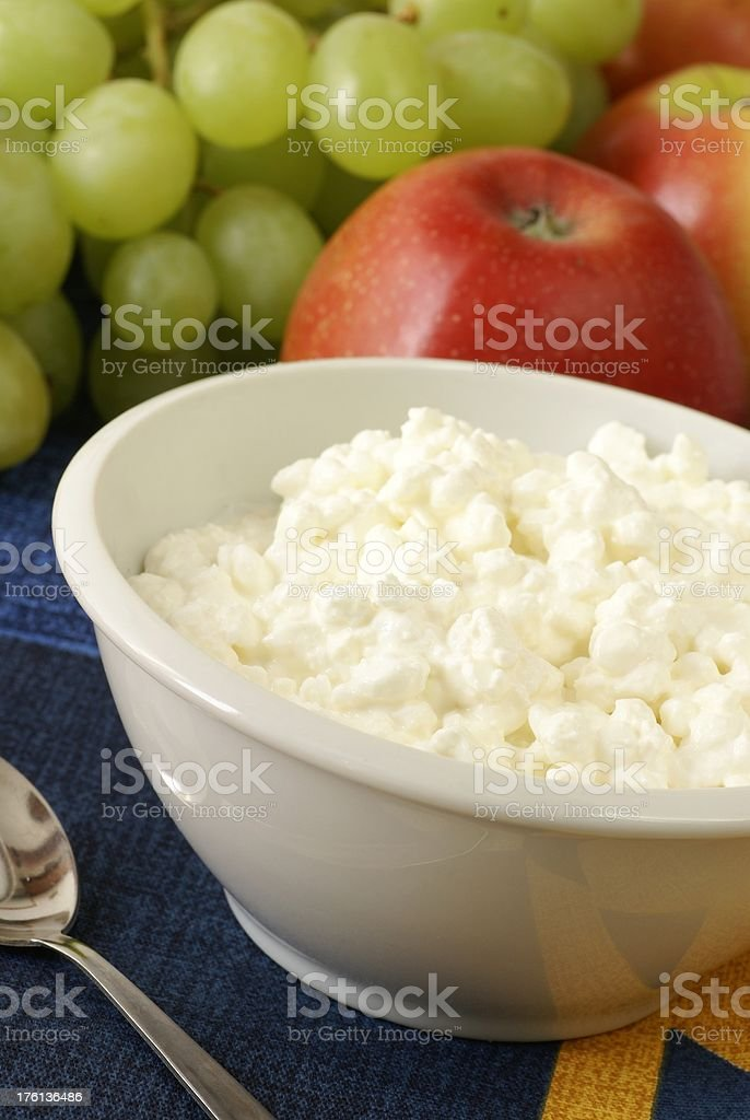 Cottage cheese with fruits royalty-free stock photo