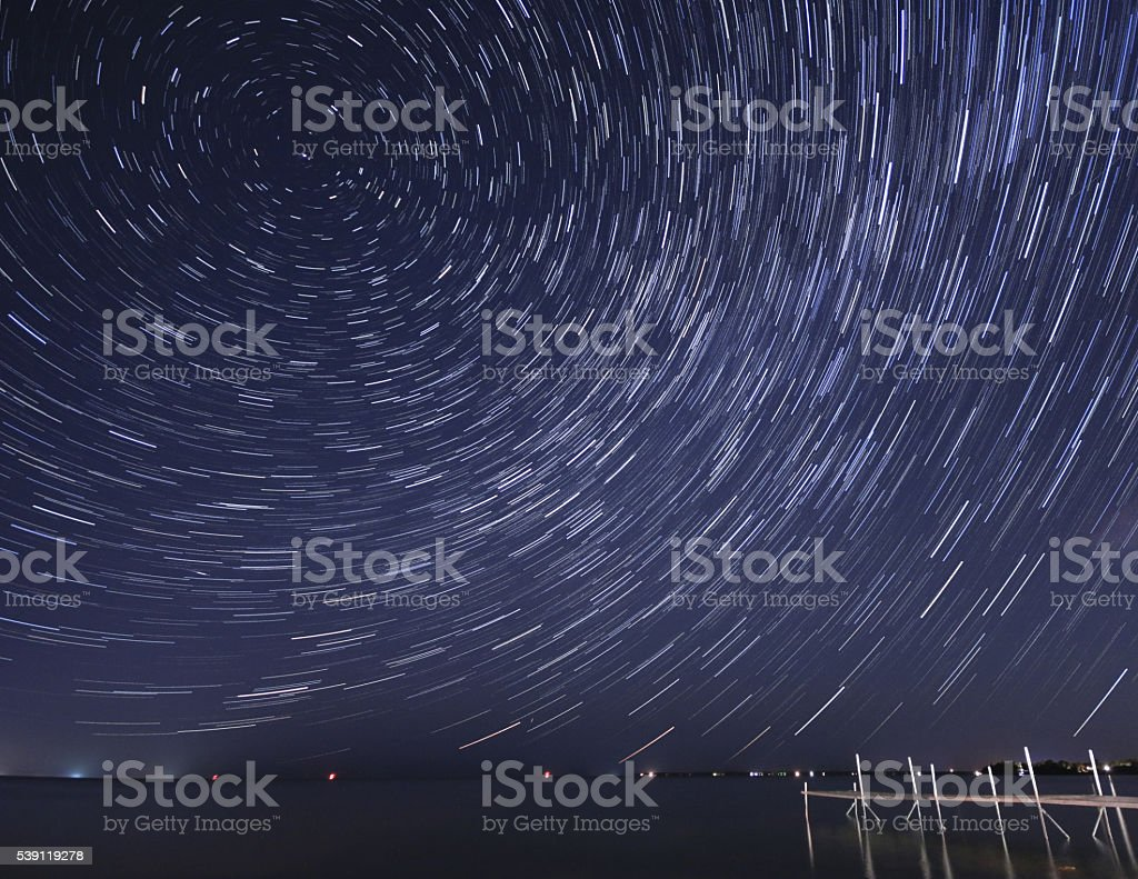 Cottage Country Star Trails At Night stock photo