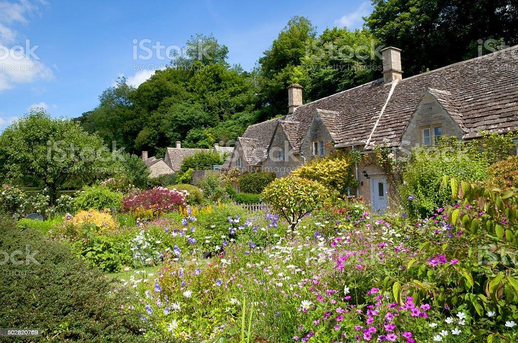 Cottage garden at Bibury stock photo