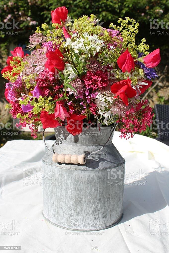 cottage garden flowers stock photo