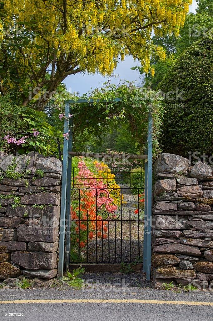 Cottage garden, Grasmere, The Lake District, Cumbria, England stock photo