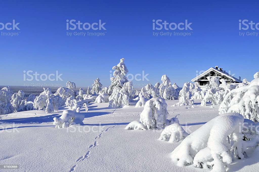 Cottage in Arctic wilderness royalty-free stock photo