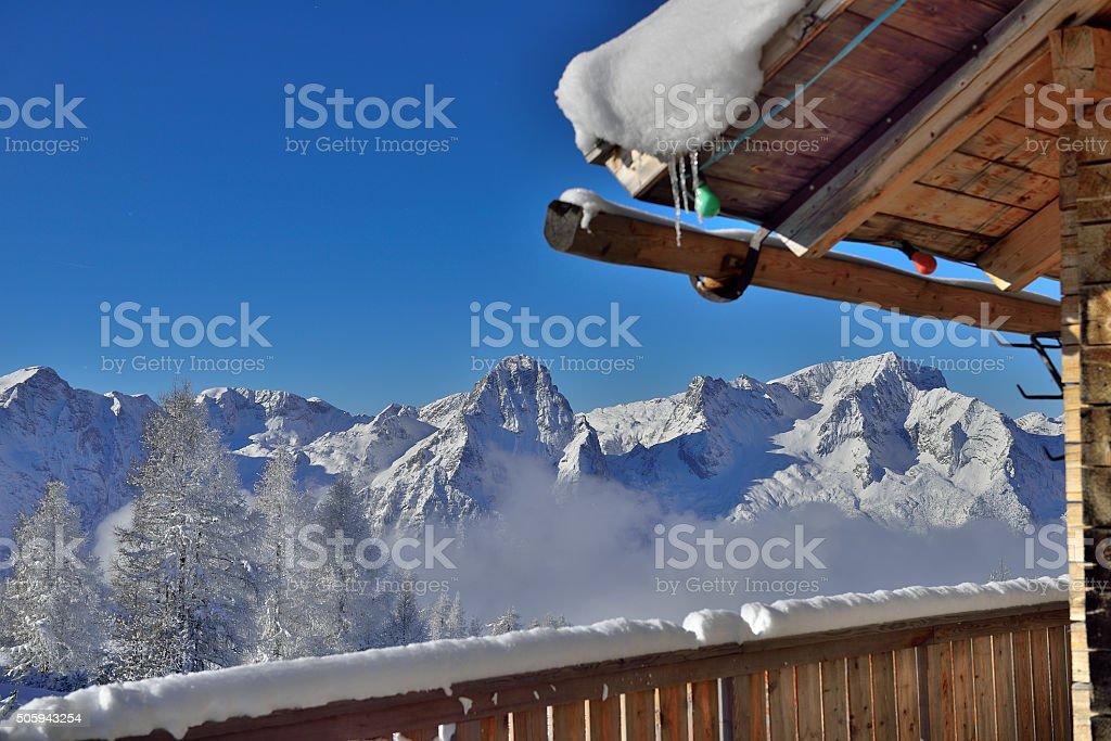 Cottage in Ski Ressort Hinterstoder (Upper Austria) stock photo