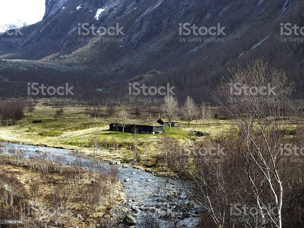 cottage in the mountains of norway stock photo