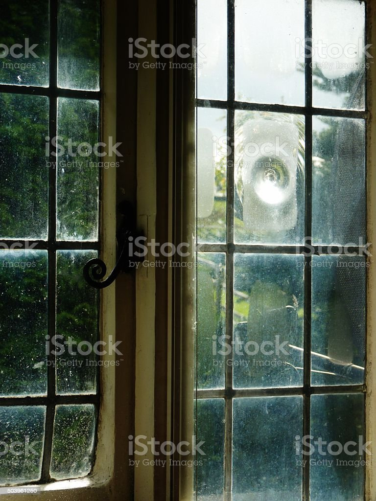 cottage leaded window stock photo