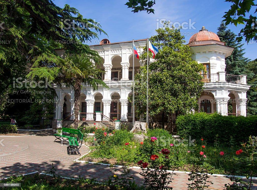 Cottage merchant Stakheyeva park Stakheyeva (Primorye) city Crimea Alushta stock photo