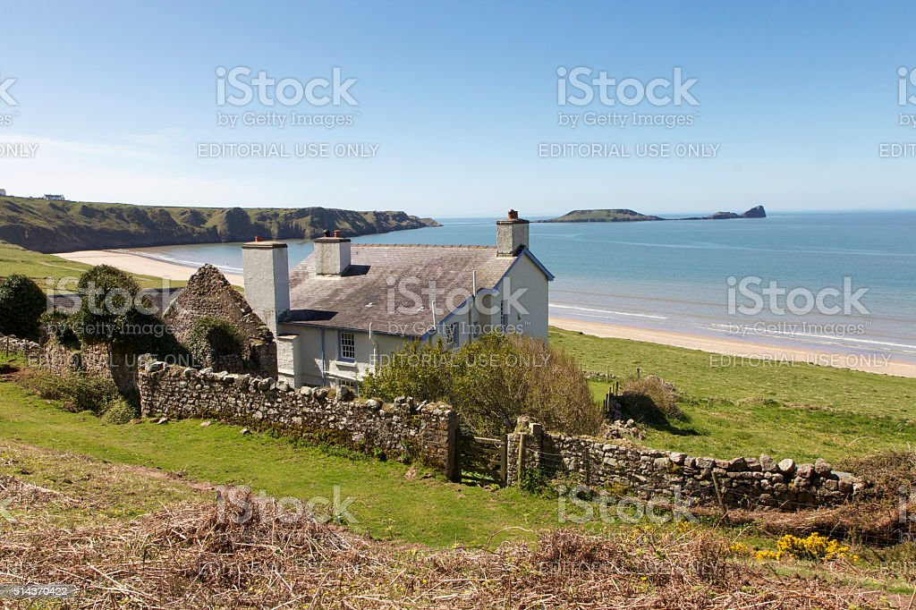 Cottage on the Beach stock photo