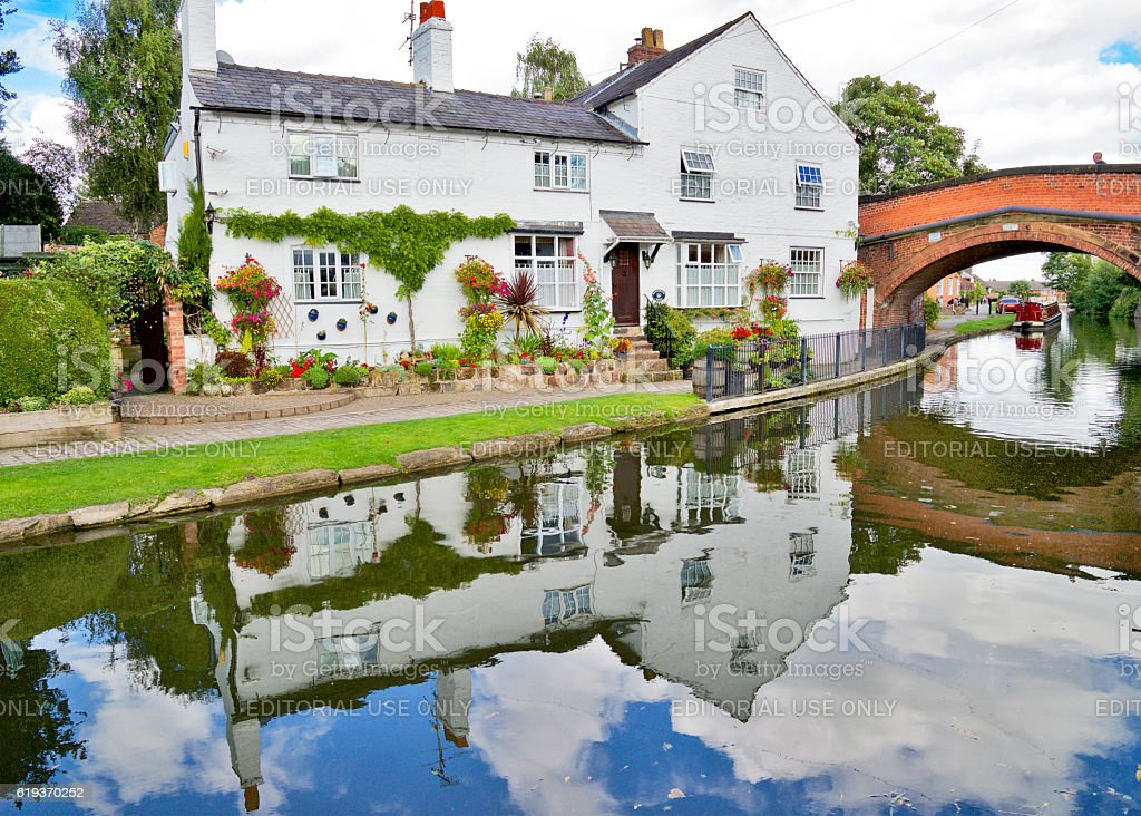 Cottage on the Bridgewater Canal stock photo