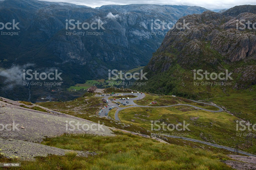Cottage on the edge of rock wall in Lysefjord stock photo