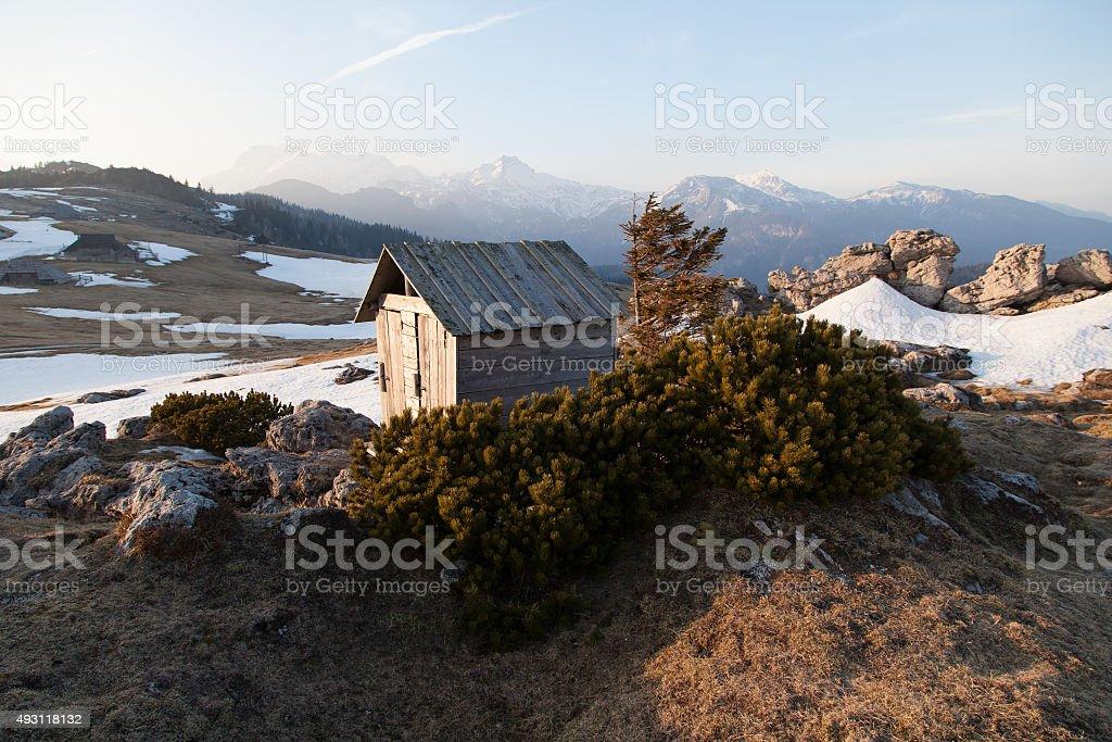 Cottage on Velika planina stock photo