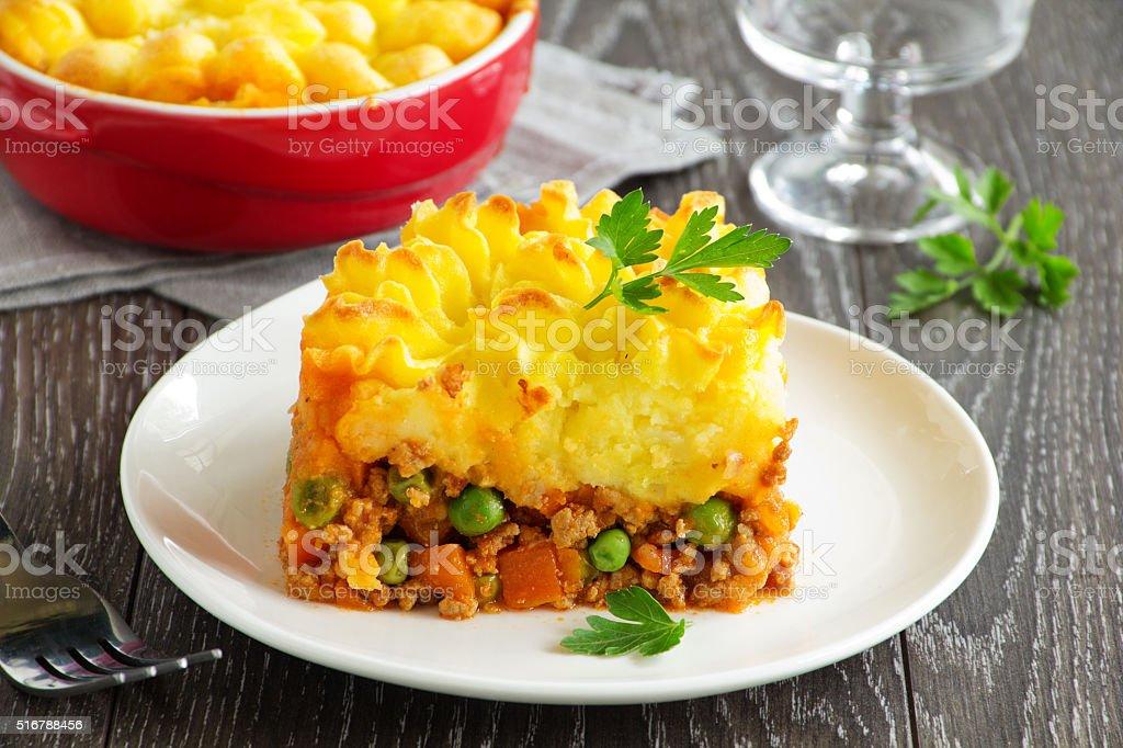 cottage pie, shepherd's pie, english cuisine stock photo