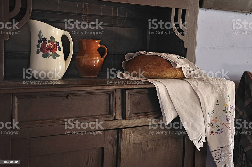 Cottage still life with bread stock photo