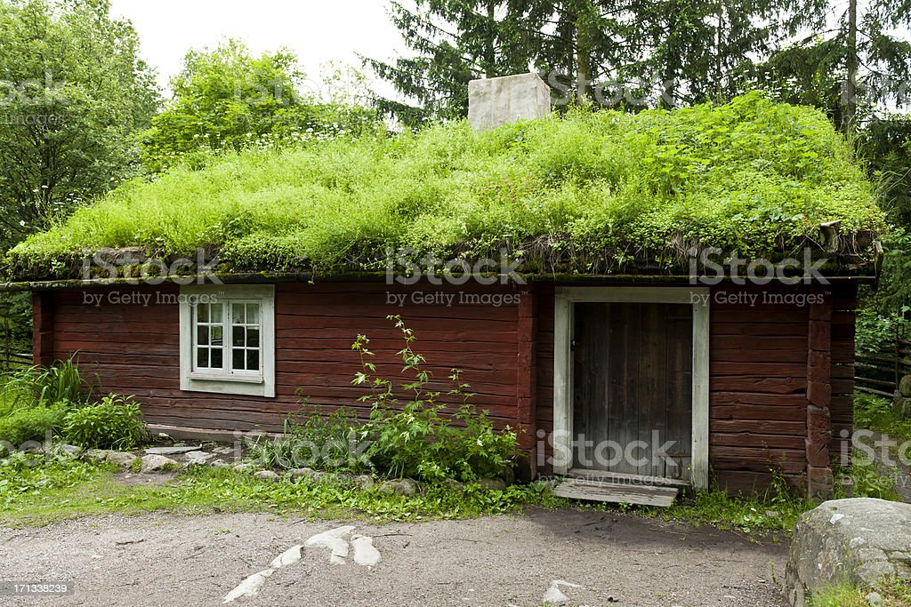Cottage with Green Roof Sweden royalty-free stock photo