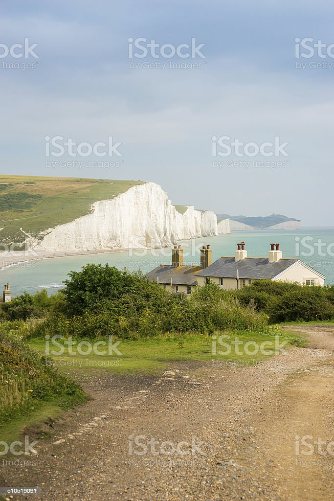 Cottages and Seven Sisters, Brighton, England stock photo