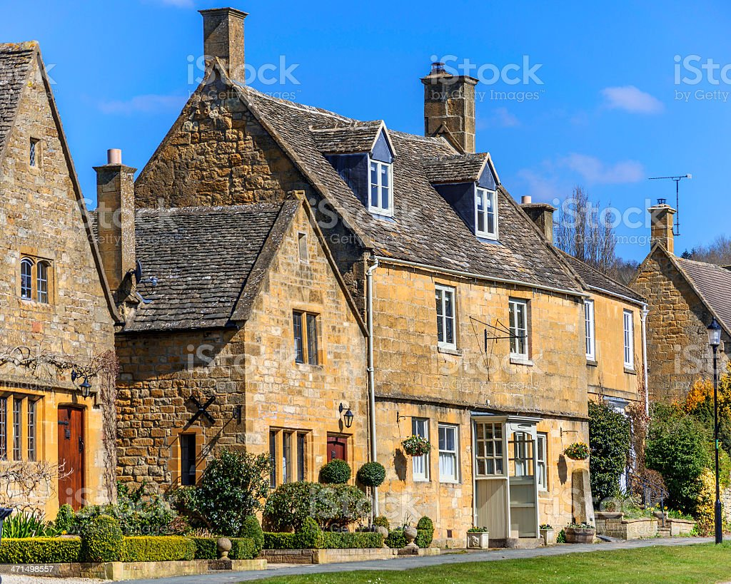 cottages broadway stock photo