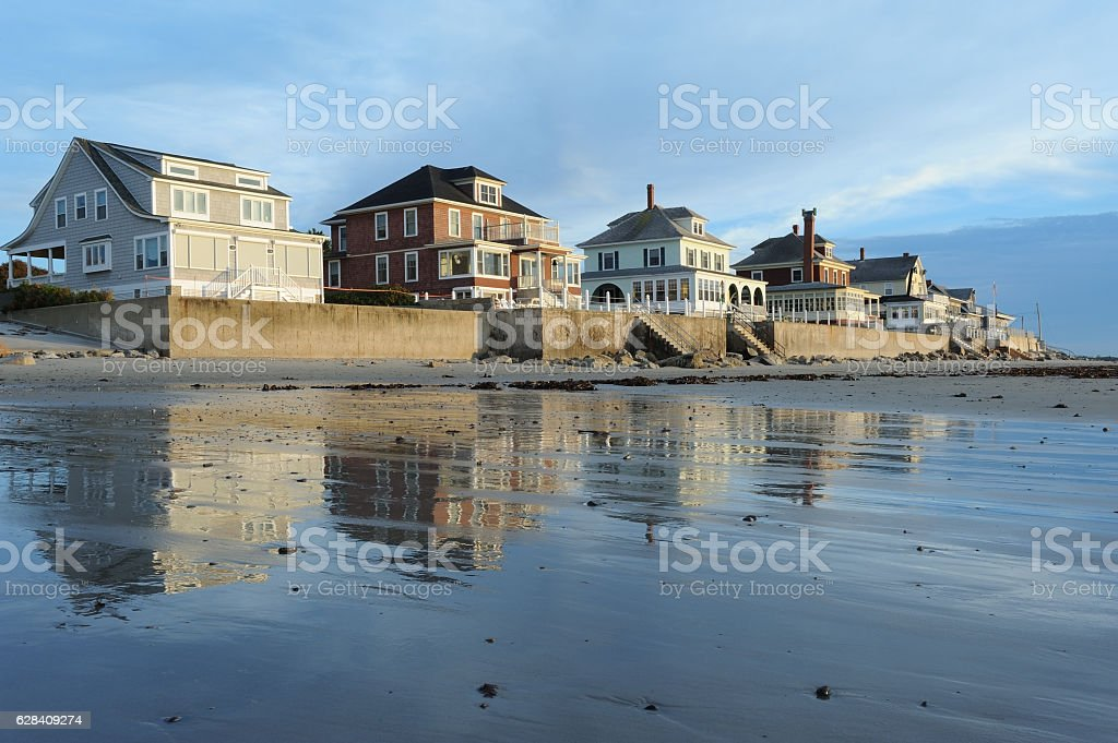 Cottages by the beach stock photo