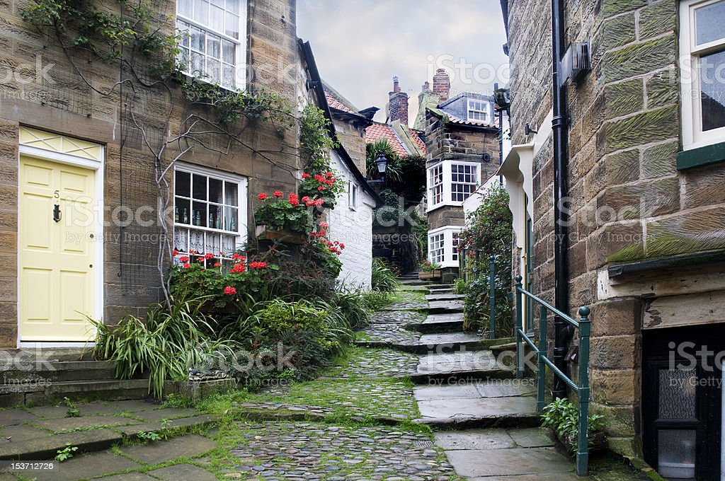Cottages in Robin Hoods Bay stock photo