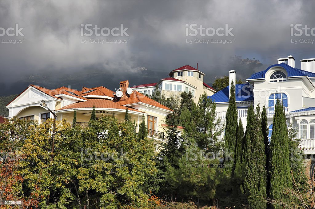 Cottages in the mountains royalty-free stock photo