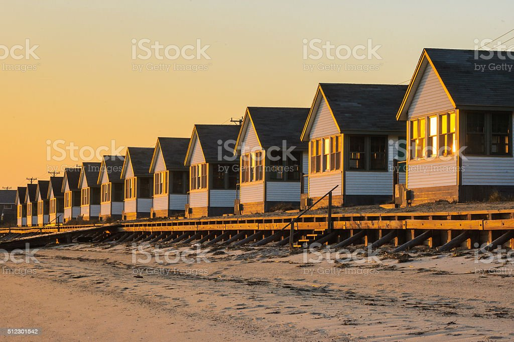 Cottages on the Beach stock photo